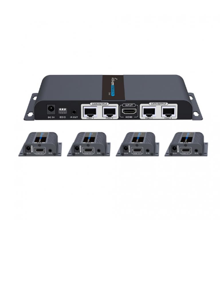 SAXXON LKV714PRO - Extensor  HDMI / 4 Puertos / CAT6 /  1080p / 40 Metros / Ir