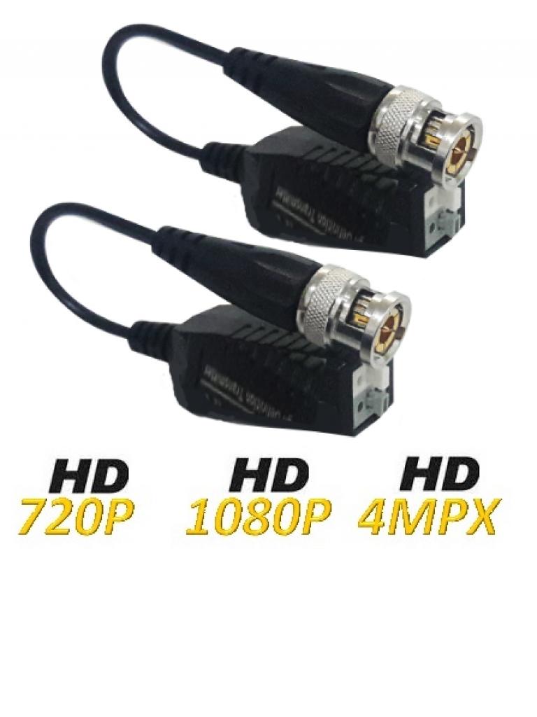 UTEPO UTP101PHD404 -PAQUETE DE 4 PARES DE TRANSCEPTORES PASIVO 4 EN 1 / PUSH/ HDCVI/ HDTVI/ AHD/ CVBS/ 250 M A 720P/ 200 M A 1080P/ 150 M A 4MP