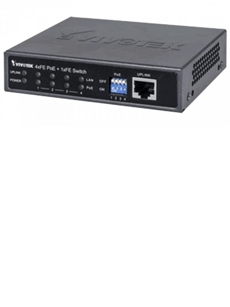 VIVOTEK AWFED0500065 - Switch high  PoE 4 puertos FE/ 1 Puerto GE / Hasta 60W por puerto / 65W Totales / DIP Switch
