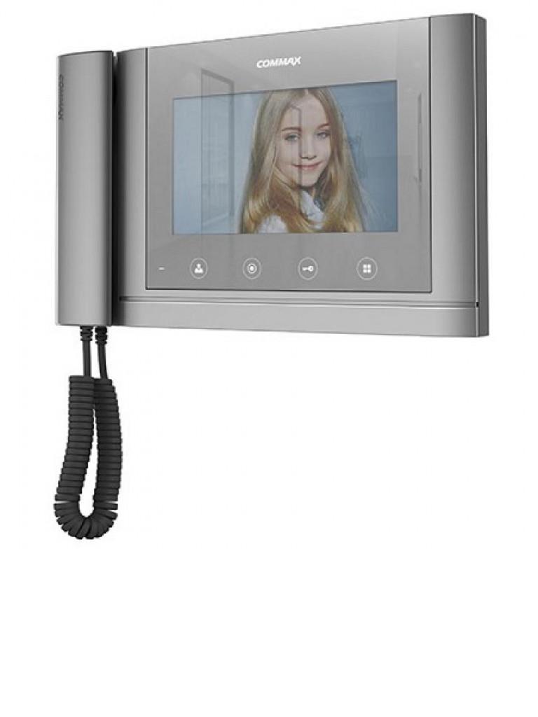 COMMAX CDV70MHM - Monitor color plata de 7 pulgadas / Soporta 2 monitores 2 frentes y 1 auricular / Pantalla espejo
