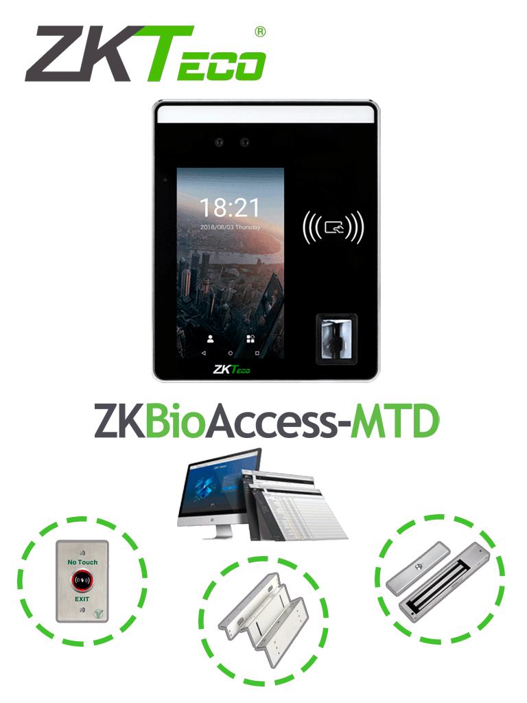 ZKTECO SpeedFaceH5PACK - Paquete de control de acceso y asistencia multi biométrico con licencia Bio Access MTD gratis, incluye cerradura de 200 Kg y soporte de fijación en ZL/  #TodoIncluido