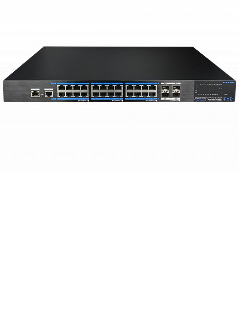 SAXXON UTP7524GEPOE4GF - Switch  Gigabit  PoE administrable / L2 / 24 Puertos  PoE  Gigabit RJ45 / 4 Puertos SFP  Gigabit /  802.3af&AT /  PoE 390  Watts