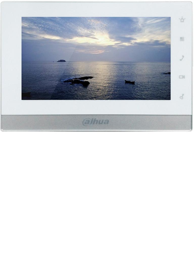 DAHUA VTH1550CH - Monitor de videoportero IP touch de 7 pulgadas / SD 16GB / Llamadas en grupo /  PoE Con switch DAHUA / 8 Camaras IP / Hasta 19 frentes de calle