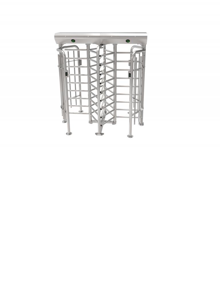 ZKTECO FHT2322D - Torniquete de Cuerpo Completo / Doble Carril con 3 Brazos a 120 Grados / Acero Inoxidable / Incluye 4 Lectores FR1200 y Panel INBIO PULL