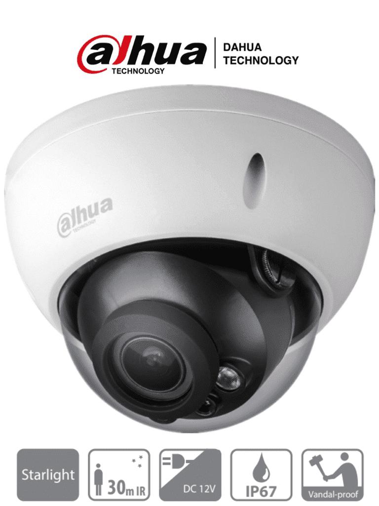 DAHUA HDBW1230RZ - Camara Domo con Zoom de 2 Megapixeles/ Starlight/ Lente Motorizado de 2.7 a 12mm/ Antivandalica (IK10)/ IP67/ IR de 30 Mts/ Soporta HDCVI/AHD/TVI y CVBS/
