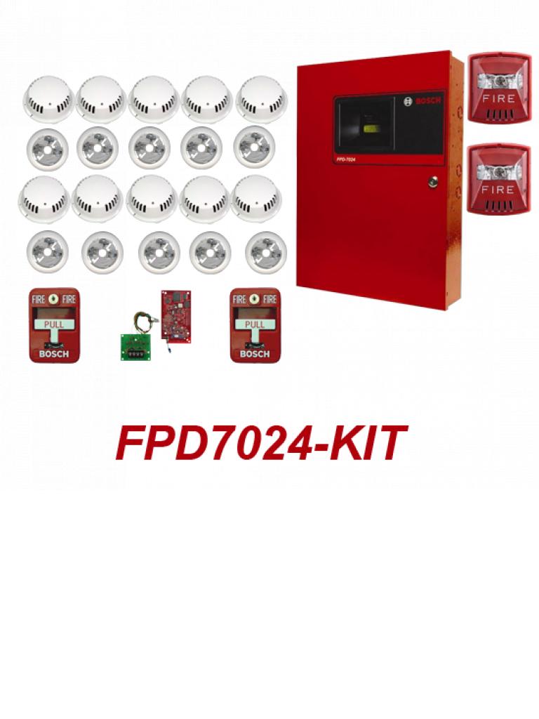 BOSCH F_FPD7024KIT- PANEL CON TARJETA DIRECCIONAL/ 10 DETECTORES DE HUMO CON BASES/ 2 ESTACIONES MANUALES/ 2 SIRENA ESTROBO/ 1 FPE-7039