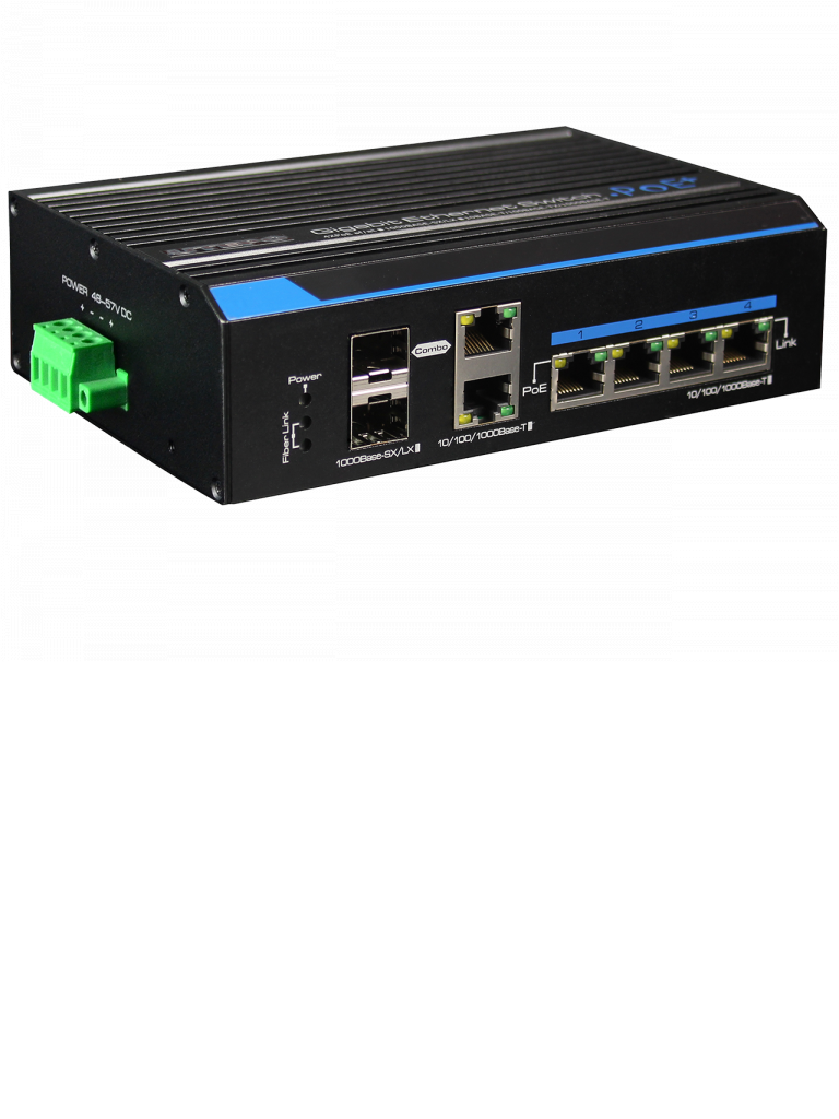 UTEPO UTP7204GEHPOE- SWITCH GIGABIT INDUSTRIAL HIGH POE 4 PUERTOS/ 802.3 AF/ 802.3AT/ 2 PUERTOS COMBO UPLINK GIGABIT/ HASTA 60W POR PUERTO/ 120W TOTALES