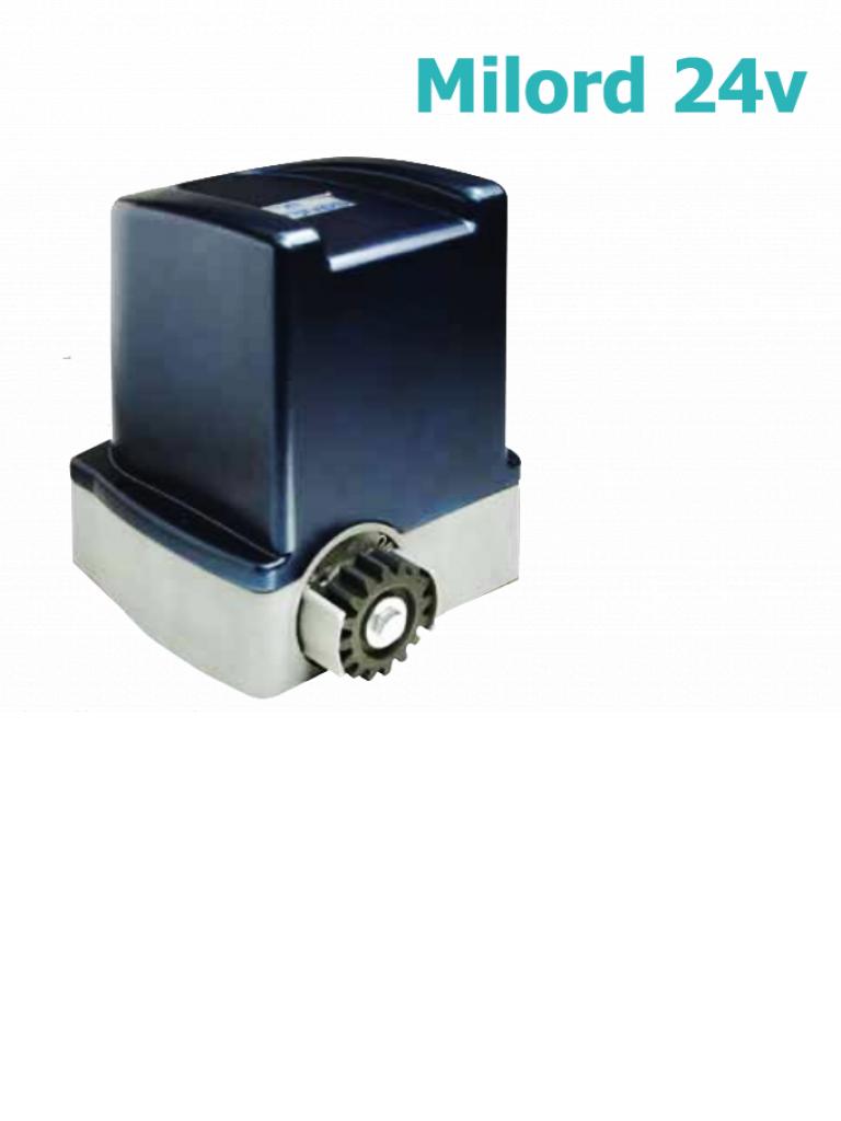 MERIK MILORD2411 - Motor para porton corredizo / 24  VDC / 110  VAC / 12M Por minuto / Uso residencial / 70 W / Peso del porton 400 Kg / Incluye 6 metros