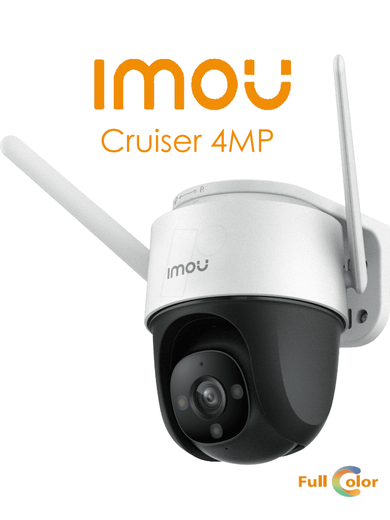 Imou Cruiser 4MP - Camara IP PT Wifi de 4 Megapixeles/ FullColor/ IR 30 Mts/ Sirena y Luz Blanca/ H.265/ Detección de Humanos/ Zoom Digital de 16x/ Autotracking/  Ranura MicroSD/ Onvif