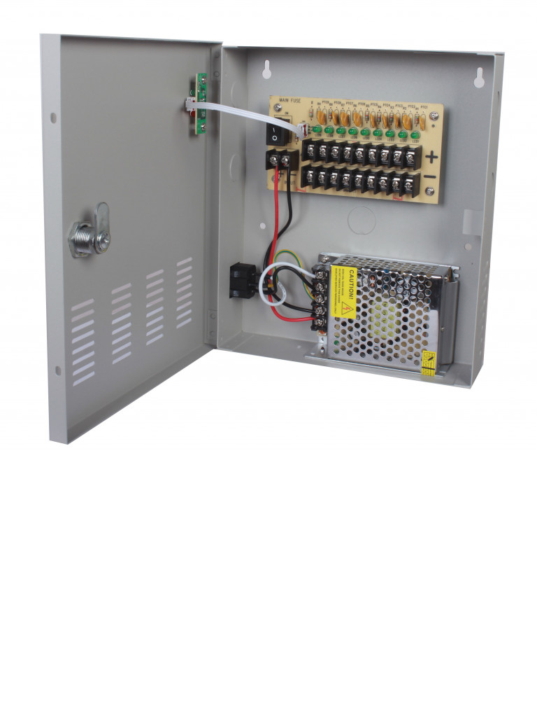 SAXXON PSU1205D9 - Fuente de poder 12V CD / 5 Amperes / Distribuidor para 9 camaras / 550 MILI A MPERS En carga completa por canal / UL / Ce / FCC