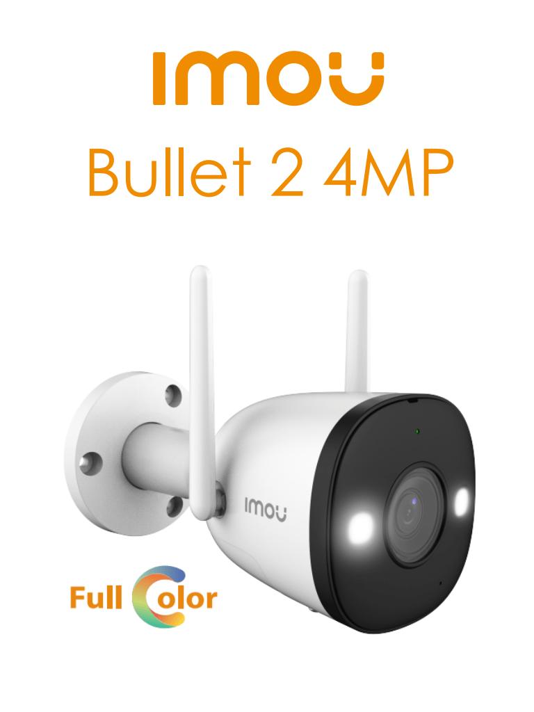 IMOU Bullet 2 4 MP - Camara IP Bullet de 4 Megapixeles Wifi/ FullColor/ Lente de 2.8 mm/ 102 Grados de Apertura/ 30 Mts IR/ Sirena&Luz Blanca/ H.265/ Microfono Integrado/ Ranura para MicroSD/ IP67