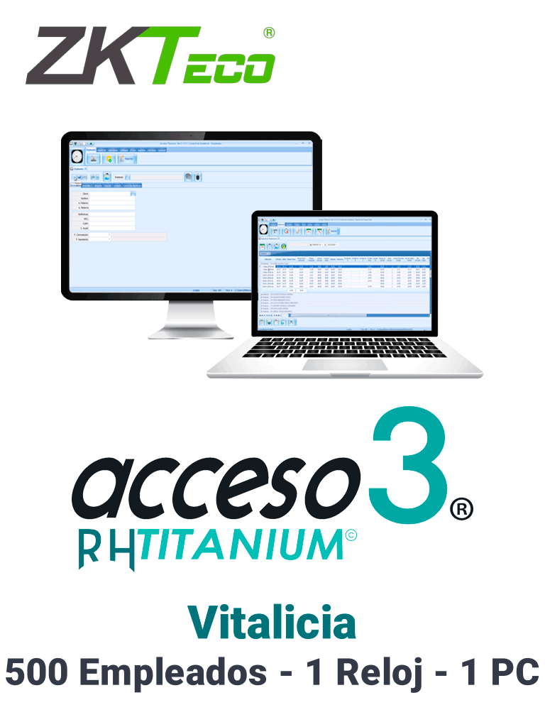ZKACCESO TITANIUM - Licencia para control de asistencia / 500 empleados / 1 Reloj y 1 PC / Compatible con NOI y CONTPAQ / Vitalicia