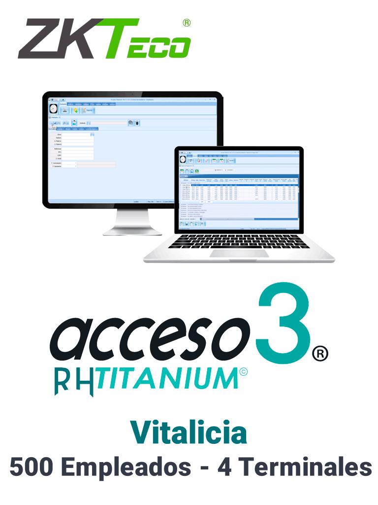 ZKACCESO TITANIUM1P - Licencia para control de asistencia / 500 empleados / 4 terminales (PC o Reloj) / Compatible con NOI y CONTPAQ / Vitalicia