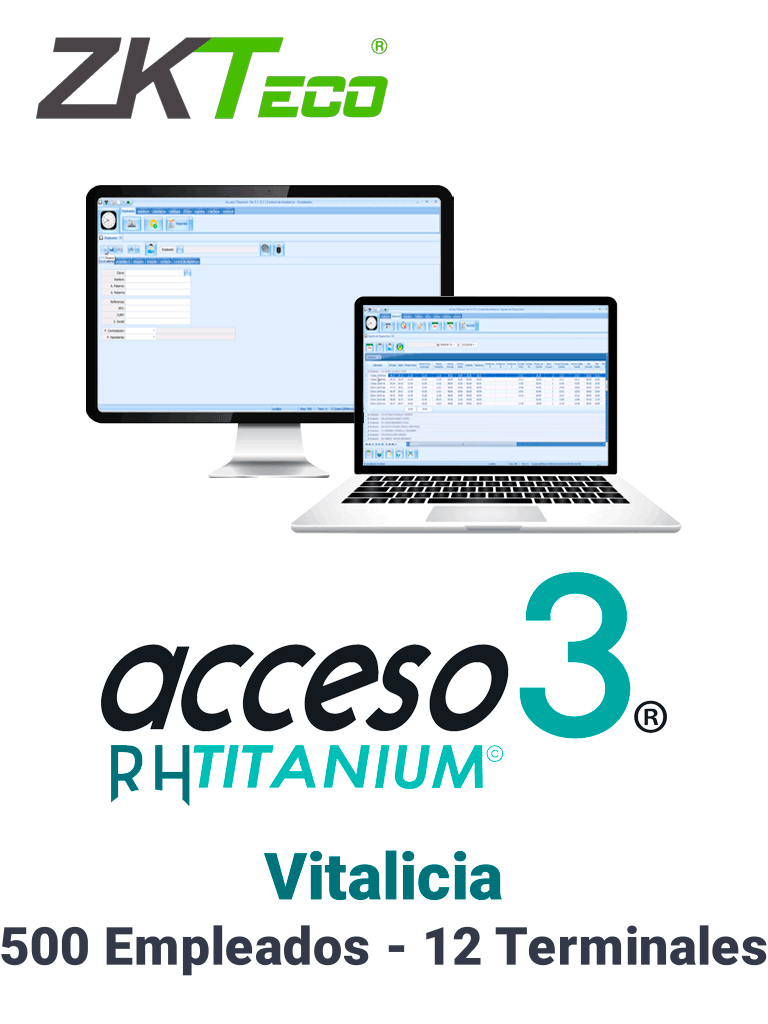 ZKACCESO TITANIUM2P - Licencia para control de asistencia / 500 empleados / 12 terminales (PC o Reloj) / Compatible con NOI y CONTPAQ / Vitalicia