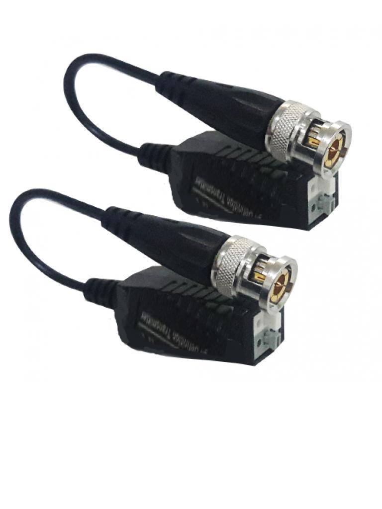 UTEPO UTP101PHD4B - Par de transceptores PIG TAIL pasivo  HDCVI / TVI / A HD / CVBS / Facil conexion push / 300M A  720p / 250M A  1080p / 200M A 4 MP / 150M A 4K