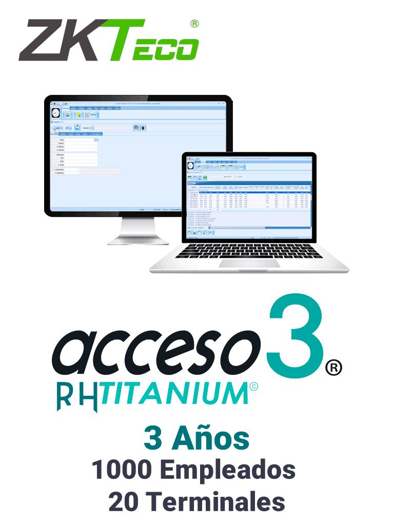 ZKACCESO TITANIUM3 - Licencia para control de asistencia / 1000 empleados / 20 terminales (PC o Reloj) / Compatible con NOI y CONTPAQ / 3 años