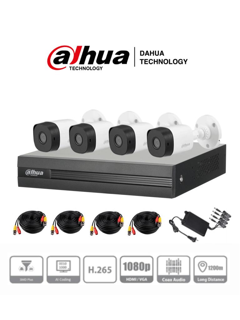 DAHUA KITXVR1B04-I+4B1A21 - KIT de 4 Canales 2 Megapixeles/ WizSense/ H.265+/ 4 Camaras 1080p de Plicarbonato/ 4 Canales + 1 IP o Hasta 5 Canales IP/ 4 Canales con SMD Plus/ Busqueda Inteligente (Humanos y Vehiculos)/ 1 Puerto Sata de hasta 6TB/ #LoNuevo