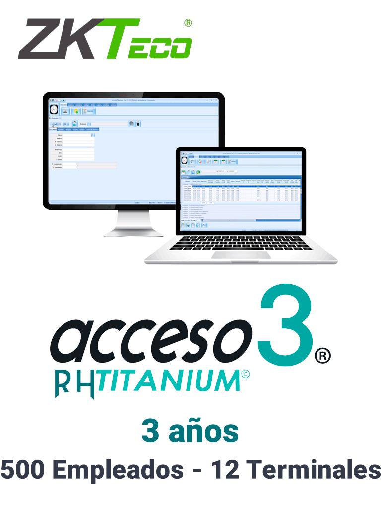 ZKACCESO TITANIUM2 -Licencia para control de asistencia / 500 empleados / 12 terminales (PC o Reloj) / Compatible con NOI y CONTPAQ / 3 años