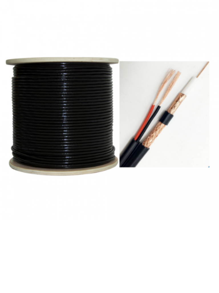 SAXXON OSIACOP5305NE - Cable siames conductor cobre / Doble malla CCA / 305 Metros / Color negro / Exterior / Par cable electrico CCA calibre 18  AWG