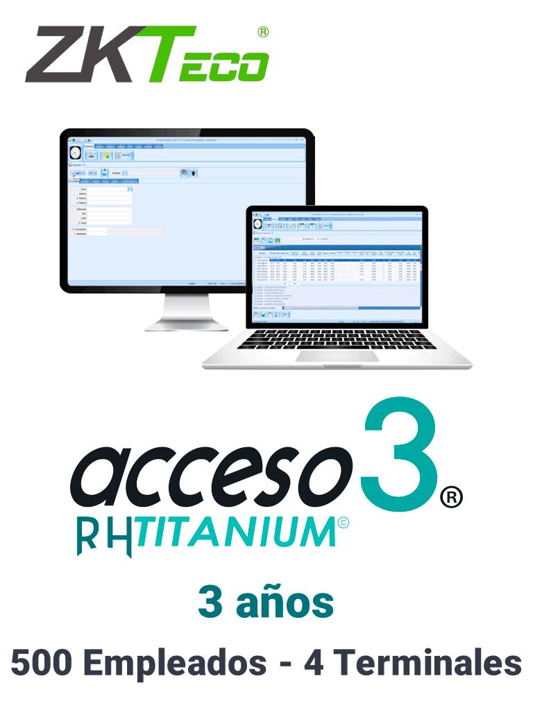 ZKACCESO TITANIUM1 - Licencia para control de asistencia / 500 empleados / 4 terminales (PC o Reloj) / Compatible con NOI y CONTPAQ / 3 años