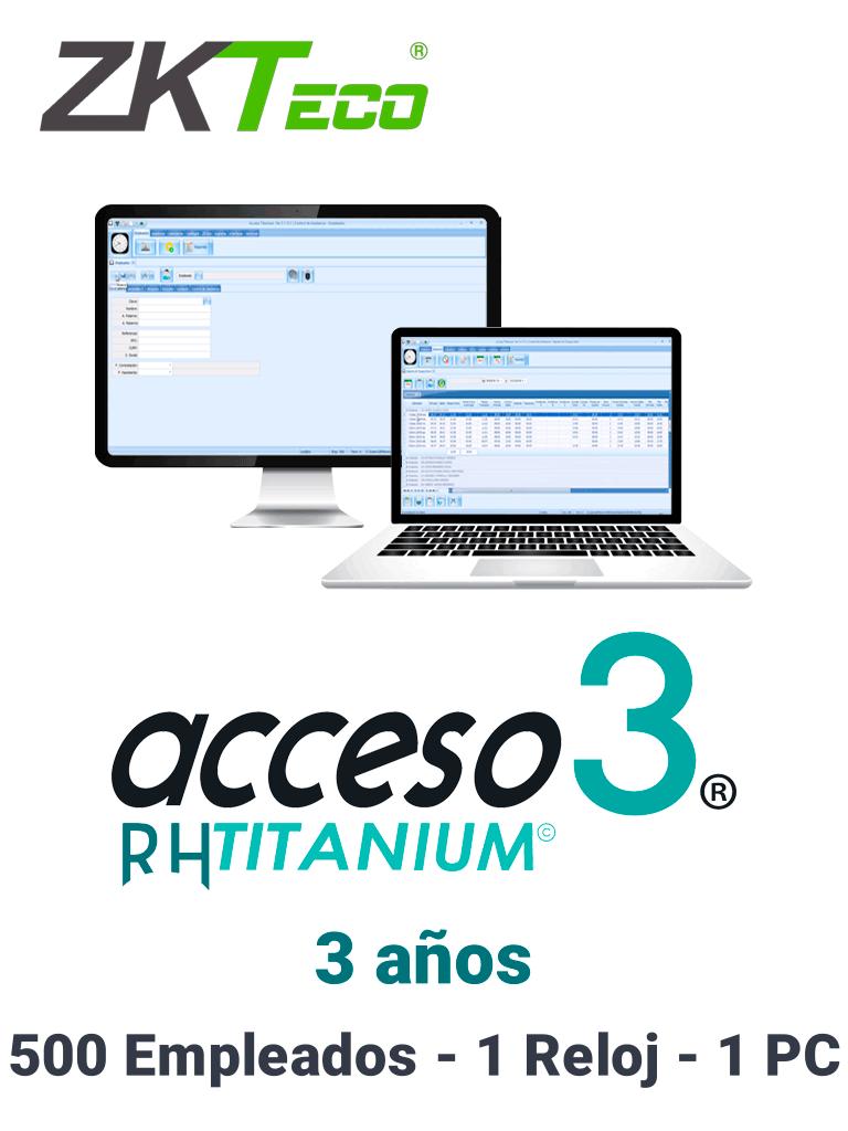 ZKACCESO TITANIUM0 - Licencia para control de asistencia / 500 empleados / 1 Reloj y 1 PC / Compatible con NOI y CONTPAQ / vigencia 3 años