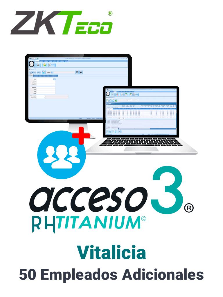 ZK ACCESO TITANIUM50EMPADD - Licencia para agregar un bloque de 50 empleados adicionales / Vitalicia