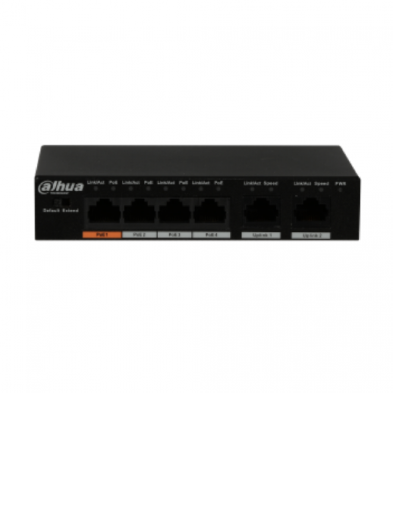 DAHUA PFS3006P60 - Switch  PoE 4 puertos / 2 Puertos UPLINK ethernet / SWITCHING 1.8G / 60  Watts / Soporta IEEE 802.3af / IEEE 802.3at / HI  PoE