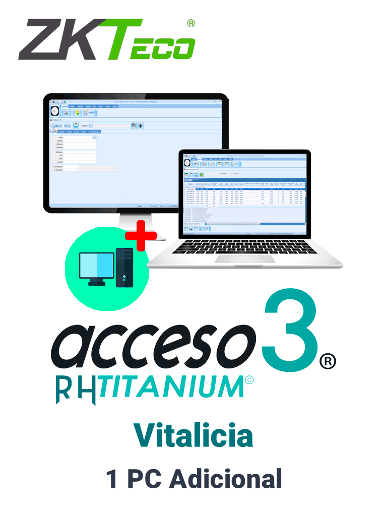 ZKACCESO TITANIUMCOMPADD -  Licencia para 1 PC adicional de adminsitracion de software / Vitalicia