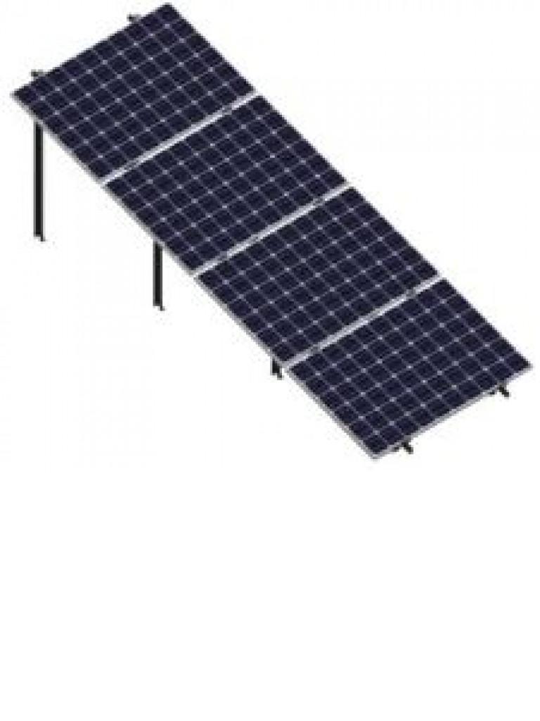 PV SRIH4X120 - Kit para sistema solar en 4 filas inclinados a 20º en horizontal 72 celdas / Para 4 paneles no incluidos