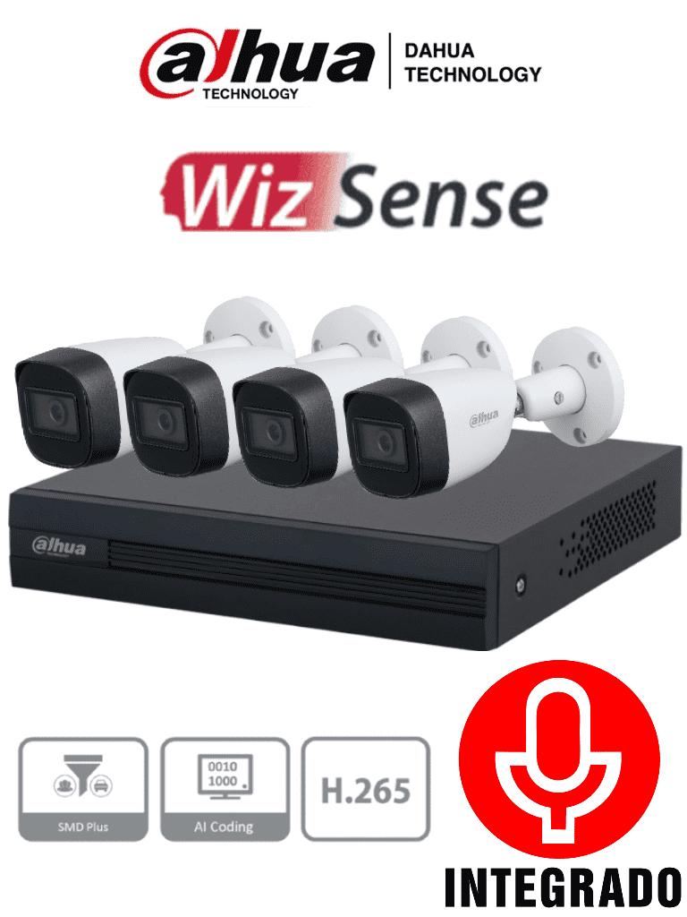 DAHUA KITXVR1B04-I+HFW1200CM-A- KIT Metálico de 4 Canales 2 Megapíxeles con Micrófono Integrado/ WizSense/ 4 Cámaras 1080p Metal+Audio/ DVR 4 Ch/ H.265+/ con Inteligencia Artificial/SMD Plus/ Codificación Inteligente/ #LoNuevo