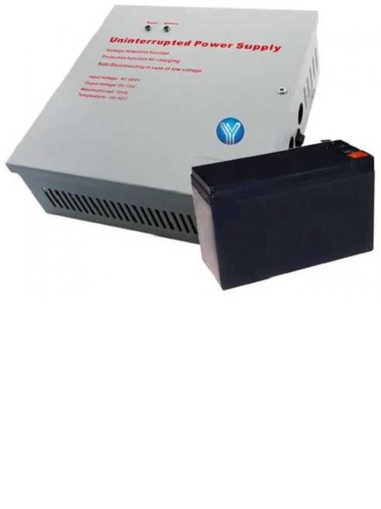YLI YP902123YPB7PAK - Gabinete metalico con fuente de poder para controles de acceso no /  NC /  COM Y bateria de respaldo 12 VDC 3A MP