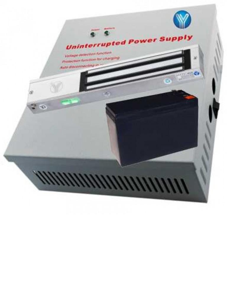 YLI YP90YM280NLED - Paquete con chapa magnetica con indicador LED de 280 Kg o 600  Lb y gabinete metalico con fuente de energia de 12VDC con bateria de respaldo
