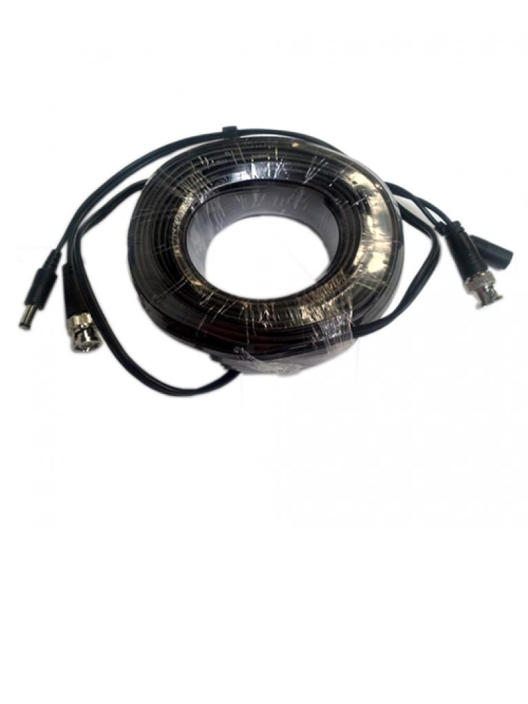SAXXON WB0130C - Cable de video y energia de 30  Mts / B NC Macho / 1 Conector macho y 1 conector hembra de energia / Para camaras  HD de hasta 6W
