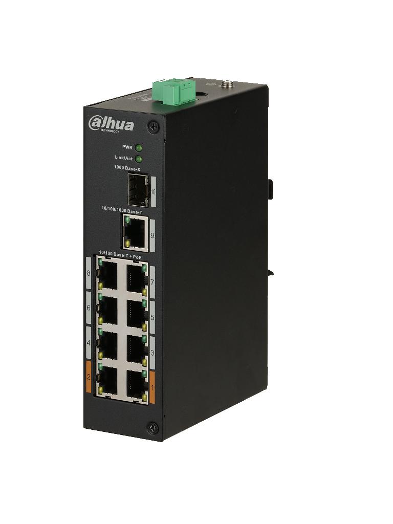 DAHUA PFS31108ET96 - Switch  PoE 8 puertos / 1 Puerto UPLINK SFP / 1 Puerto UPLINK ethernet  Gigabit / 96W / SWITCHING 7.6G