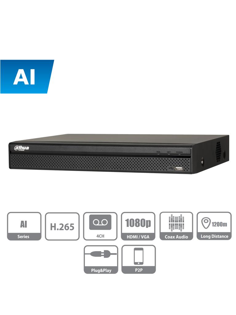 DAHUA XVR5104H - I - DVR de 4 canales  1080P/ con IA / 5 Megapixeles N Lite / 4 MP N Lite /  1080p / H.265+ / SMD Plus / Proteccion perimetral / 2 Canales IP