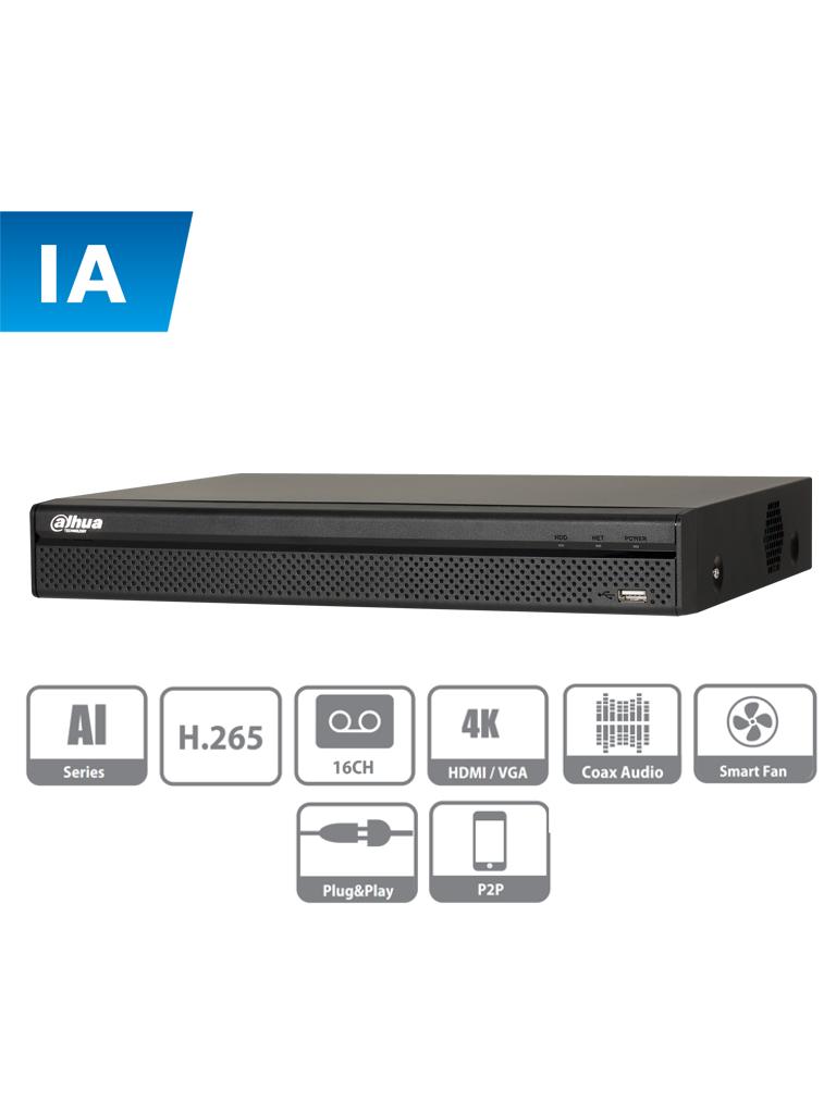 DAHUA XVR5116H - I - DVR de 16 canales con IA / 5 Megapixeles n / 4 MP N /  1080p / H.265+ / SMD Plus / Proteccion perimetral / 8 Canales IP