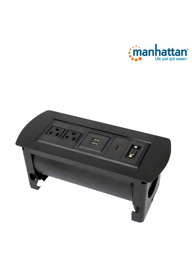 MANHATTAN 164832 - Caja Conexión / Enchufe / USB / HDMI / VGA / para mesa