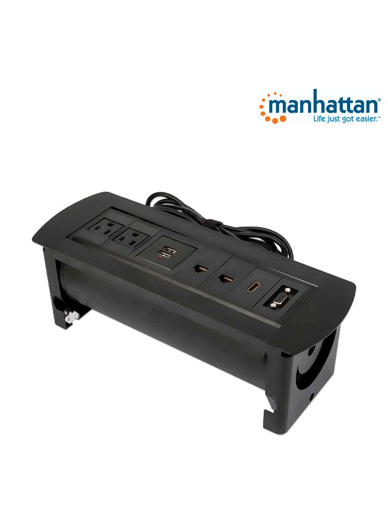 MANHATTAN 164856 - Caja Conexión / Enchufe / USB / HDMI / VGA / Red / para mesa