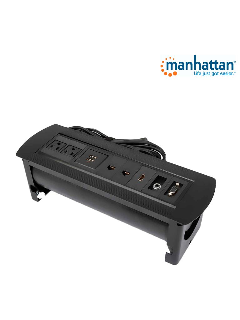 MANHATTAN 164863 - Caja Conexión / Enchufe / USB / HDMI / VGA / Red / Audio 3.5 mm / para mesa
