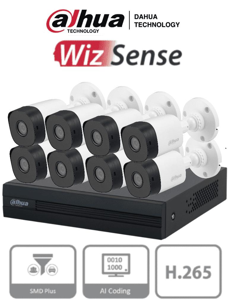 DAHUA KITXVR1B08- I+8-B1A21- Kit de 8 Canales de 2 Megapixeles/ Cooper-I/ WizSense/ H.265+/8 Cámaras B1A21/ Con Accesorios Incluidos/ 4 Canales con Inteligencia Artificial SMD Plus/ Busqueda Inteligente/ Codificación IA/ 1 Bahía de HDD/ #LoNuevo