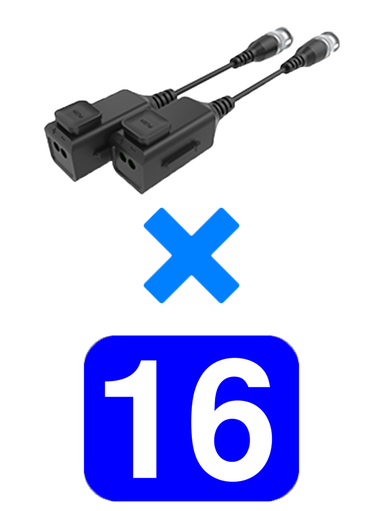 UTEPO UTP101PHD6PAK16 - 16 Pares de transceptores pasivos  HD / Diseño para empalmes ordenados / Distancias CVI  720p a 300M /  1080p A 250M / 4 MP A 200M / 4K A 150M