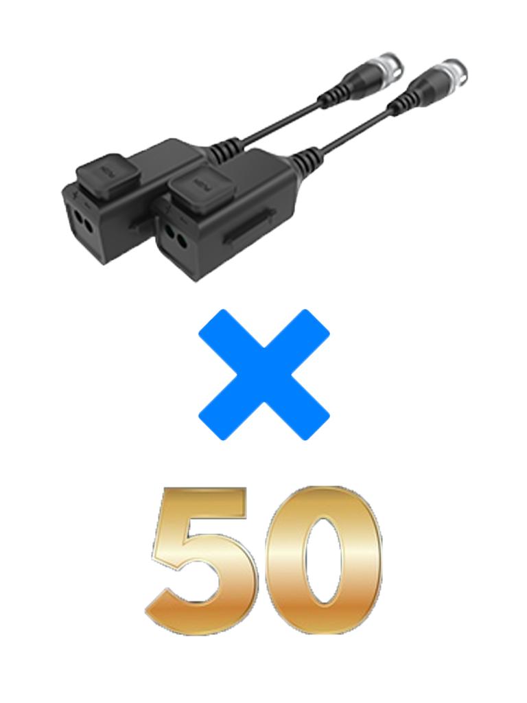UTEPO UTP101PHD6PAK50 - 50 Pares de transceptores pasivos  HD / Diseño para empalmes ordenados / Distancias CVI  720p a 300M /  1080p A 250M / 4 MP A 200M / 4K A 150M