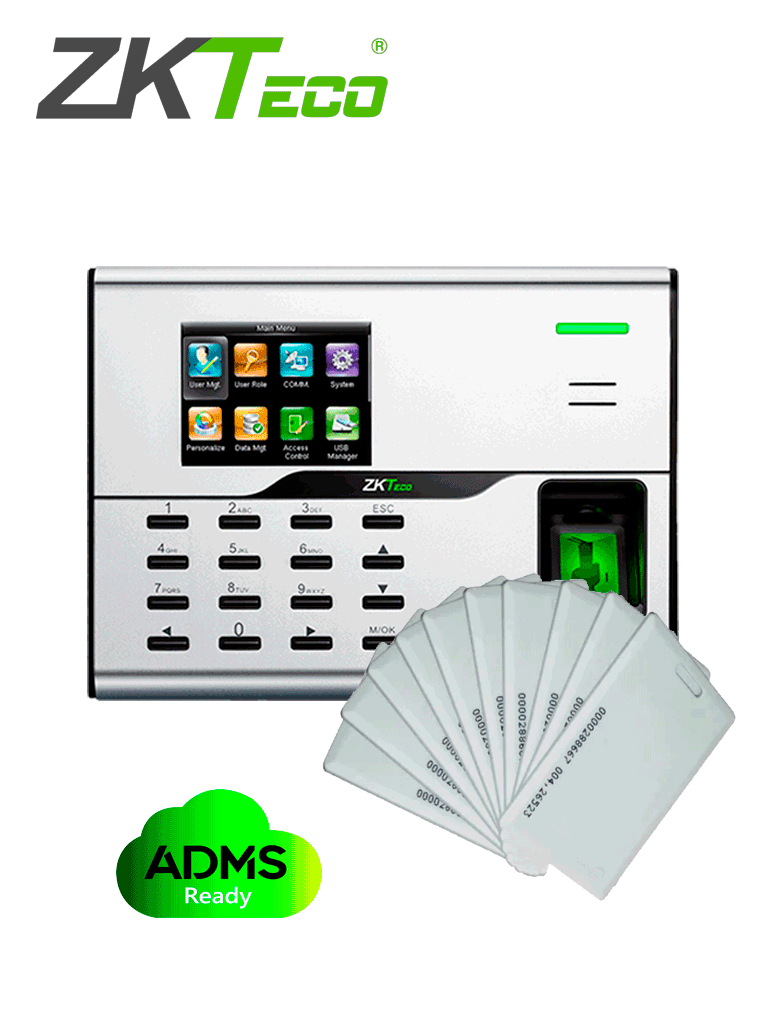 ZKTECO UA860IDCARDPAK - Control de Acceso y Asistencia Simple con 20 tarjetas de proximidad incluidas
