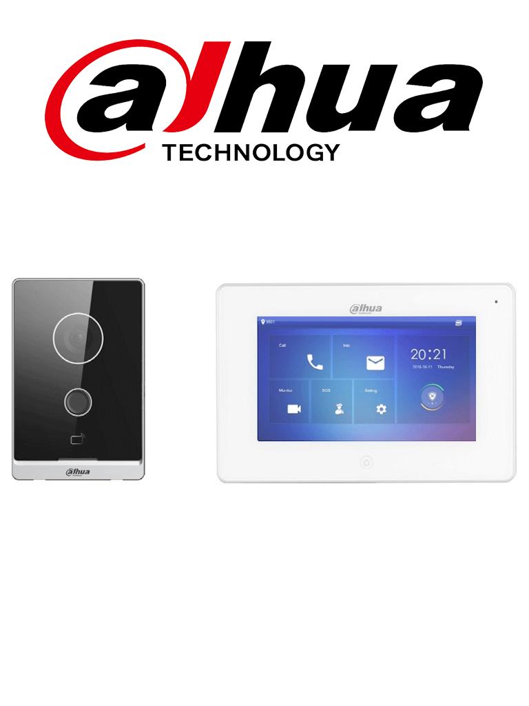 DAHUA KITW01 - PROXIMAMENTE Kit de Videoportero IP WiFi Frente de Calle, Monitor / Pantalla LCD Touch de 7/ Cámara 2MP / Ranura SD 64GB/ IP65/ Soporta 8 Sensores de Alarma. #LoNuevo #MP