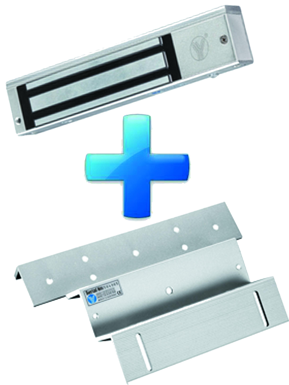 YLI PAK280N - Paquete de chapa magnetica YM280N de 280 Kg o 600  Lb incluye soporte de fijacion YM280NZL / Puertas madera, vidrio y metalica