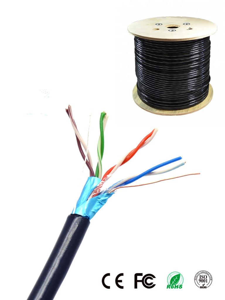 SAXXON OFTPCAT5ECOPE150N - Cable blindado FTP 100% cobre / Categoria 5E / Color negro / Exterior / 150 M / Aplicaciones CCTV / Redes de datos