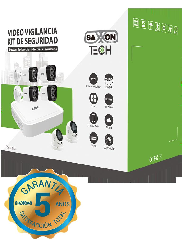 SAXXON TECH 8304XECCLKIT - Kit de DVR de 4 canales  1080p real / P2P / 4 Camaras policarbonato  1080p / 2.8 mm / Angulo de vision de 92 grados / IP66 Exterior / Accesorios