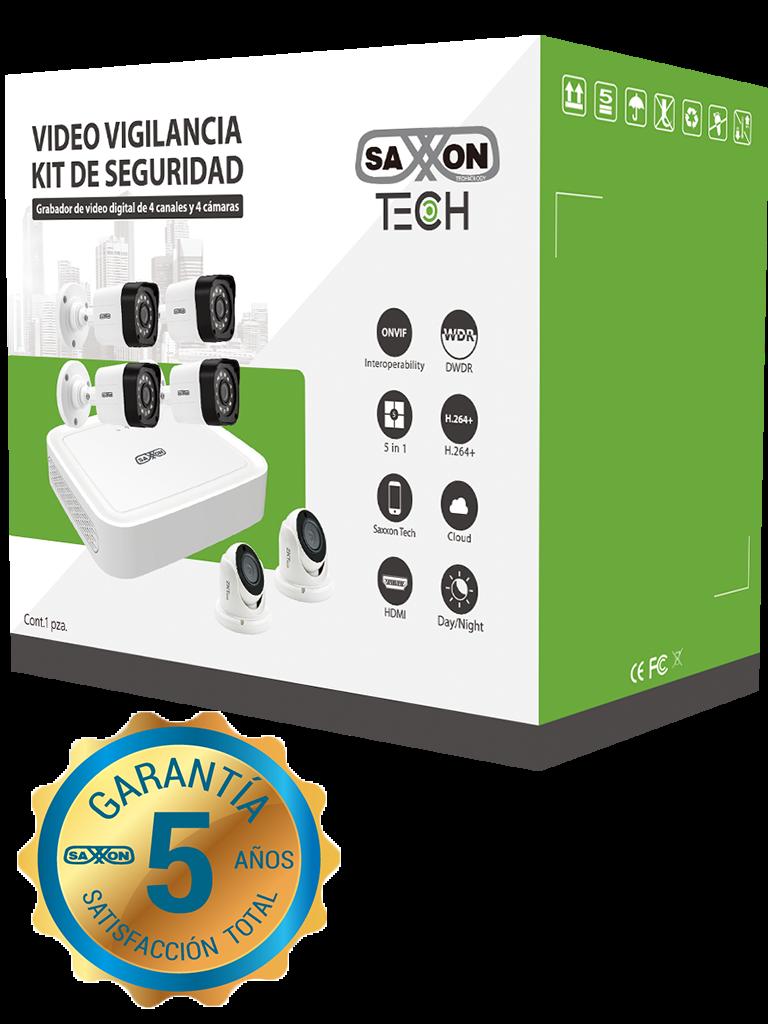 SAXXON TECH 8304XECCLKIT- KIT DE DVR DE 4 CANALES 1080P REAL/ P2P/ 4 CAMARAS POLICARBONATO 1080P/ 2.8MM/ ANGULO DE VISION DE 92 GRADOS/ IP66 EXTERIOR/