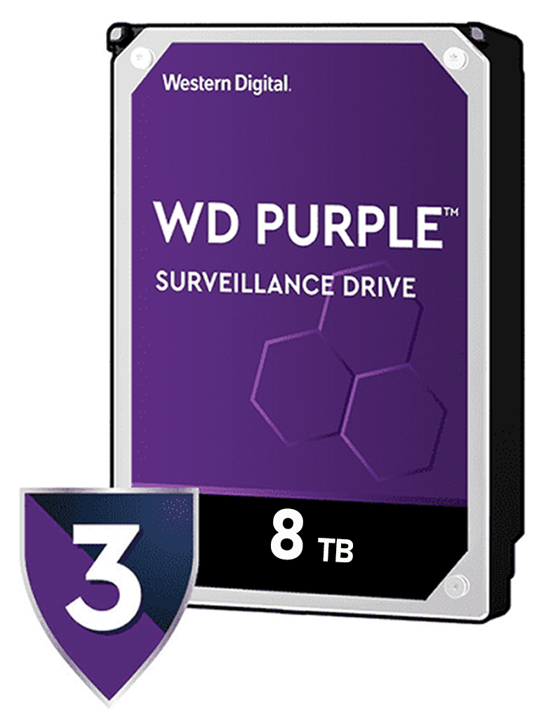 WESTERN WD82PURZ - Disco duro 8 TB / Serie PURPLE / SATA 6 GBS / Recomendado para videovigilancia / Tamano de 3.5 / 256MB / Hasta 16 bahias