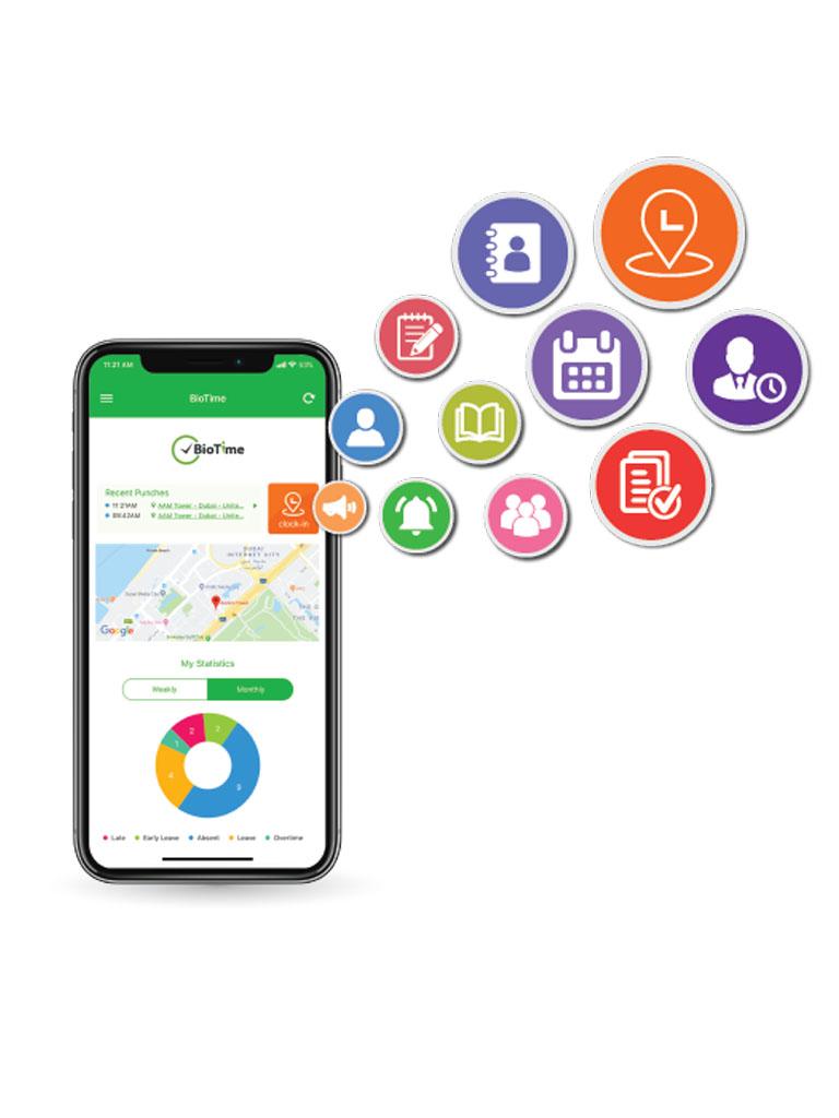 ZK BIOTIMEAPP500P - Licencia vitalicia de aplicacion movil para uso de ZK BIOTIME / Compatible con celulares ANDROID o  iOS / Soporta 500 cuentas